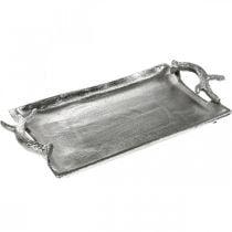 Dekorativ hjort gevir sølv aluminium rektangulær 33x18x4cm