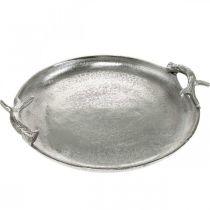 Dekorativt hjort gevir sølv aluminium rund Ø30cmH4.5cm