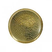 Orient-optisk brett, gylden dekorplate, metalldekorasjon Ø18,5cm