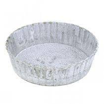 Kjeksform av metallplate, dekorativt brett rundt, borddekorasjon hvitvasket Ø14cm H4cm