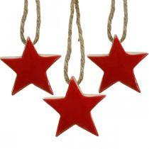 Trestjerner juletrepynt rød, naturlige dekorative stjerner 5cm 24stk
