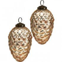 Pine cone anheng, juletrepynt, høstdekorasjon, ekte glass, antikk utseende Ø7cm H11,5cm 6stk.