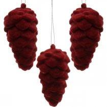 Dekorative kjegler strømmet, høstdekorasjon, furukegler rød, advent H8,5cm Ø4,5cm 8stk