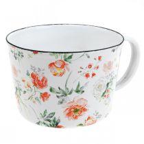 Emaljeplantebeger, dekorativ kopp med rosedekor, planter Ø10cm H7cm