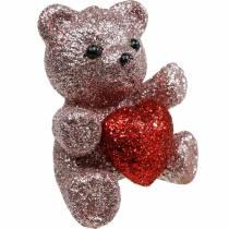 Dekorativ pluggbjørn med hjerte, Valentinsdag, blomsterplugg glitter 9stk