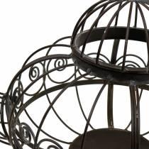 Dekorativ tekanne cachepot metall mørk brun Ø28cm H24cm