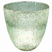 Lysglasslykt blågrønt borddekorasjonsglas Ø21cm H21,5cm
