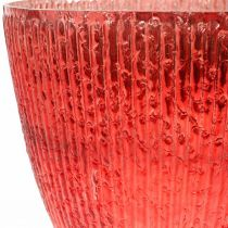 Lysglass lanterne rød glass deco vase Ø21cm H21.5cm