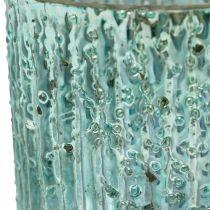 Telysglass blå lykt glass stearinlys dekorasjon 8cm