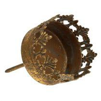 Telysholder gull antikk Ø5cm H10cm 1p