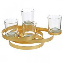 Adventslysestake metall rund gylden med 4 glass 34 × 26 × 18cm