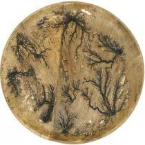 Dekorativt tallerken natur, gull mangelvirke med gullknitreffekt Ø30
