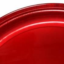 Dekorativ plate laget av metallrød med glasureffekt Ø50cm