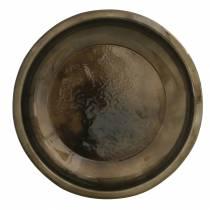 Dekorativ plate laget av metallbronse med glasureffekt Ø23,5cm