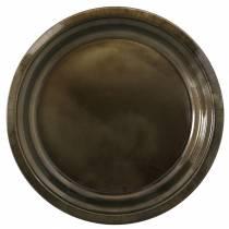 Dekorativ plate laget av metallbronse med glasureffekt Ø40cm