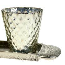 Borddekorasjonsplate med 3 telysglass sølv Ø7cm H8cm
