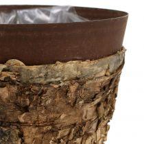 Gryte med bjørk og metall Ø17,5cm H16,5cm 1st