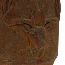Plantepott rust patina med rådyrhode Ø13,5cm H13cm