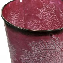 Dekorativ potte for planting, metallbøtte, metalldekorasjon med bladmønster vinrød Ø14cm H12,5cm