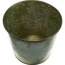 Dekorativ bøtte med bladdekorasjon, høstgryte, metallpynt grønn Ø17cm H14,5cm