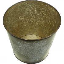 Plantebøtte med bladdekorasjon, metallkar, høstgylden Ø18cm H17cm