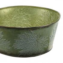 Planteskål med lønneblader, høstdekorasjon, metallbeholder grønn Ø25cm H11cm