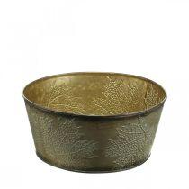 Høstskål, metallkrukke med bladdekorasjon, gylden plantekrukke Ø25cm H10cm