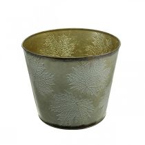 Plantepotte, høstdekorasjon, metallkar med blader gyldne Ø25,5cm H22cm