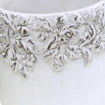 Keramikkkar, blomsterpotte med eikedekor, plantepotte grønn / hvit / grå Ø13cm H11,5cm sett med 3