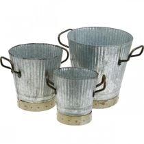 Metall cachepot med håndtak vintage dekorasjon Ø26 / 20 / 17cm sett med 3