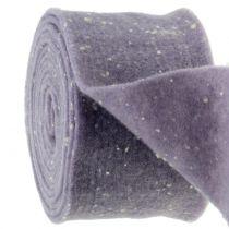 Pottehengsel filtbånd lilla med prikker 15cm x 5m