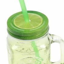 Drikkeglass med lokk og halm assortert Ø7cm H13,5cm 2stk