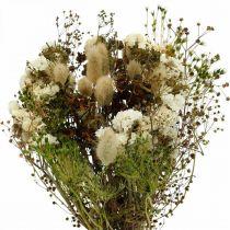 Bukett med tørkede blomster med enggress, hvite, grønne, brune 125g tørkede blomster