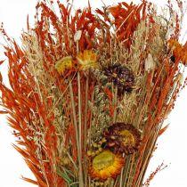 Tørket blomsterbukett oransje blanding 42cm