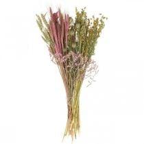 Tørkede blomster DIY-sett for bukett rosa tørre blomster 60cm