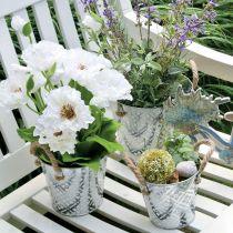Plantepotte med blomstermønster, metallpotte for planting, plantepotte med håndtak Ø25,5cm
