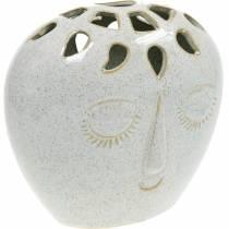 Vase med ansiktskrem, beige H18cm steintøy 1p