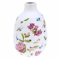 Dekorativ vase hvite blomster Ø11cm H17,5cm