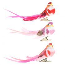 Fugl på klips rosa, rosa 15cm 12stk