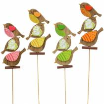 Vårdekorasjonsfugler med pinnetre assortert H10,5cm 12stk