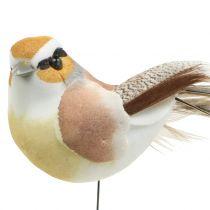Fugler på tråd natur 9cm 12stk