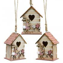 Fuglehus å henge, vår, dekorativt fuglehus med kanin, påskedekorasjon 4stk