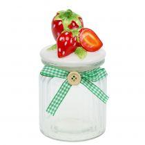 Oppbevaringskrukke med lokk jordbær 14,5cm