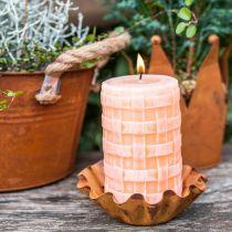Rustikke lys, søylelys kurvmønster, oransje vokslys 110/65 2stk