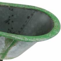 Dekorativ kar metall brukt sølv, grønn 44,5 cm x 18,5 cm x 15,3 cm