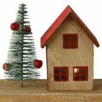 Juleby med LED-belysning naturlig, rødt tre 40 × 10,5 × 7cm