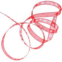 Julebånd rødt med snøfnugg 10mm 20m