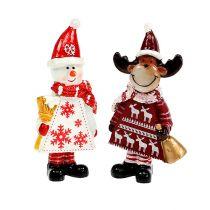 Julefigurer elg, snømannssort. 9cm 2stk