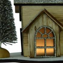 Julehus med naturlig LED-belysning, glitterved 20 × 17 × 15cm