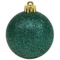 Julekule smaragdgrønn blanding Ø6cm 10stk